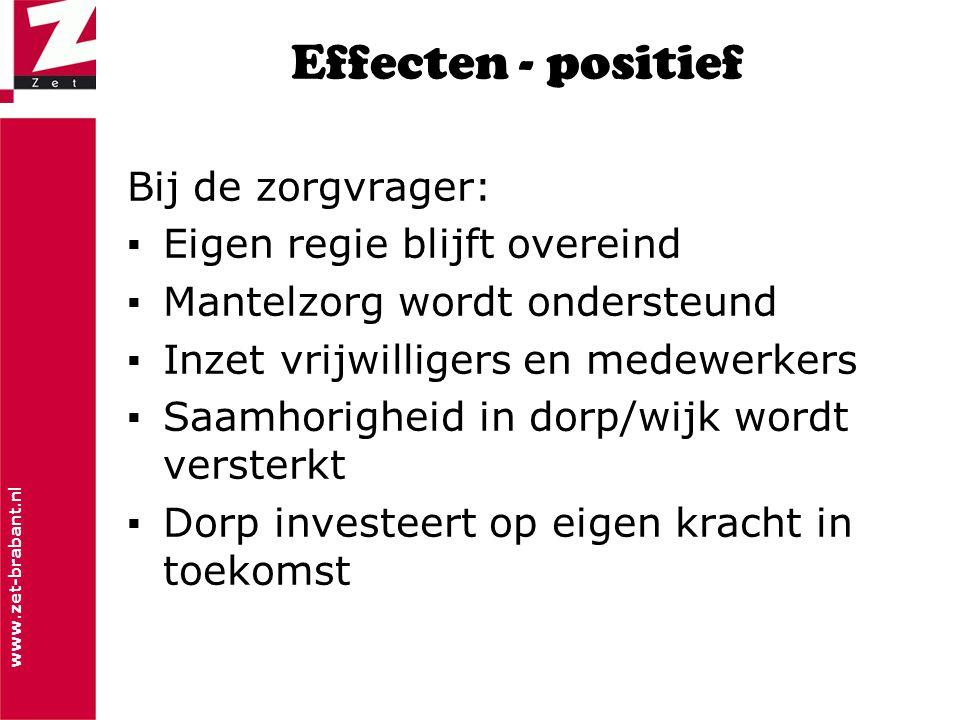 www.zet-brabant.nl Effecten - positief Bij de zorgvrager: ▪Eigen regie blijft overeind ▪Mantelzorg wordt ondersteund ▪Inzet vrijwilligers en medewerke