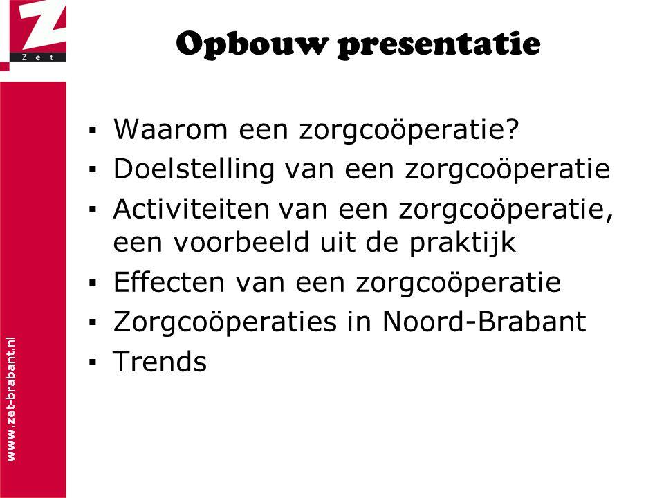 www.zet-brabant.nl Opbouw presentatie ▪Waarom een zorgcoöperatie? ▪Doelstelling van een zorgcoöperatie ▪Activiteiten van een zorgcoöperatie, een voorb