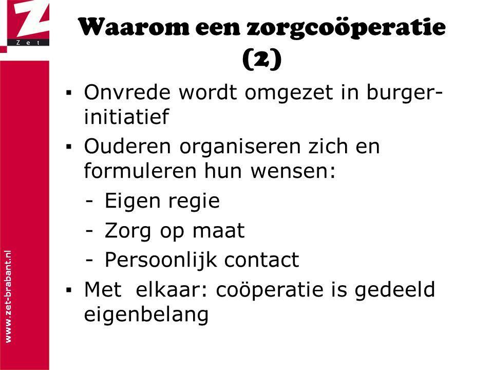 www.zet-brabant.nl Waarom een zorgcoöperatie (2) ▪Onvrede wordt omgezet in burger- initiatief ▪Ouderen organiseren zich en formuleren hun wensen: -Eig