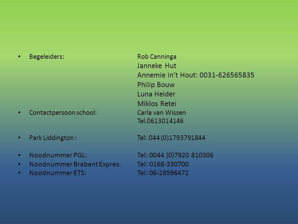 • Begeleiders: Rob Canninga Janneke Hut Annemie in't Hout: 0031-626565835 Philip Bouw Luna Heider Miklos Retei • Contactpersoon school:Carla van Wisse