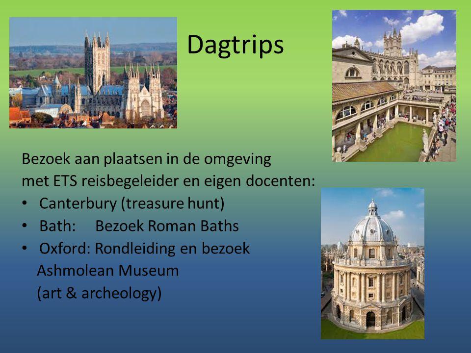 Dagtrips Bezoek aan plaatsen in de omgeving met ETS reisbegeleider en eigen docenten: • Canterbury (treasure hunt) • Bath: Bezoek Roman Baths • Oxford