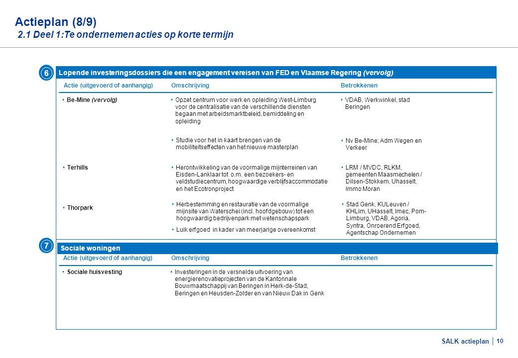SALK actieplan 10 •Be-Mine (vervolg) Actieplan (8/9) 2.1 Deel 1:Te ondernemen acties op korte termijn Lopende investeringsdossiers die een engagement