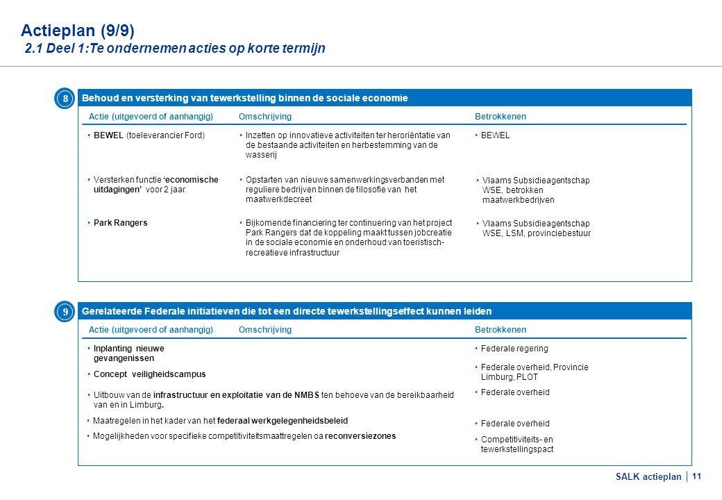 SALK actieplan 11 •Inplanting nieuwe gevangenissen Actieplan (9/9) 2.1 Deel 1:Te ondernemen acties op korte termijn Gerelateerde Federale initiatieven