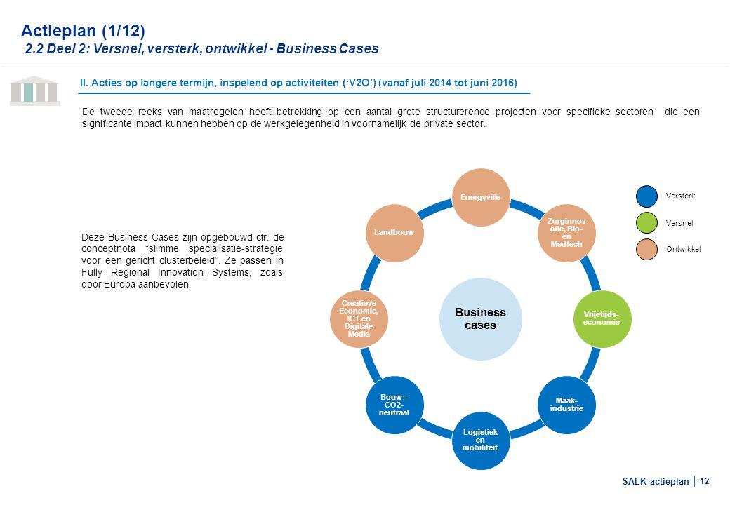 SALK actieplan 12 II. Acties op langere termijn, inspelend op activiteiten ('V2O') (vanaf juli 2014 tot juni 2016) De tweede reeks van maatregelen hee
