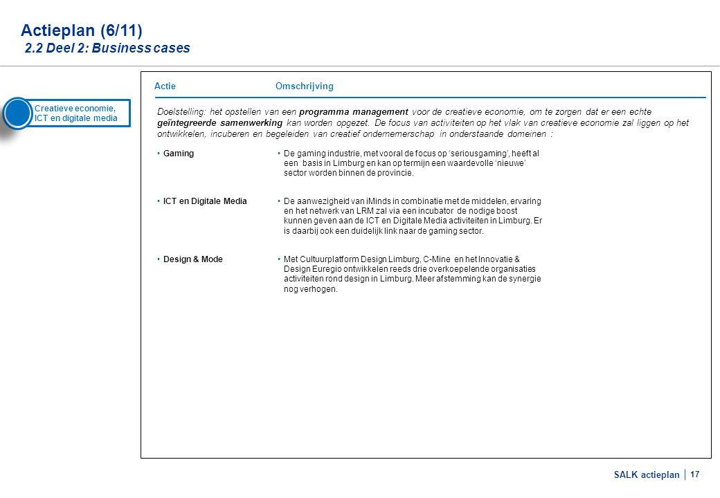 SALK actieplan 17 Actieplan (6/11) 2.2 Deel 2: Business cases Doelstelling: het opstellen van een programma management voor de creatieve economie, om