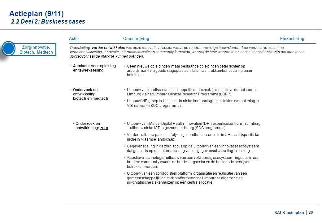 SALK actieplan 20 Zorginnovatie, Biotech, Medtech Doelstelling: verder ontwikkelen van deze innovatieve sector vanuit de reeds aanwezige bouwstenen, d