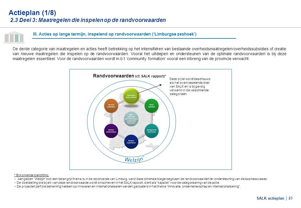 SALK actieplan 23 De derde categorie van maatregelen en acties heeft betrekking op het intensifiëren van bestaande overheidsmaatregelen/overheidssubsi