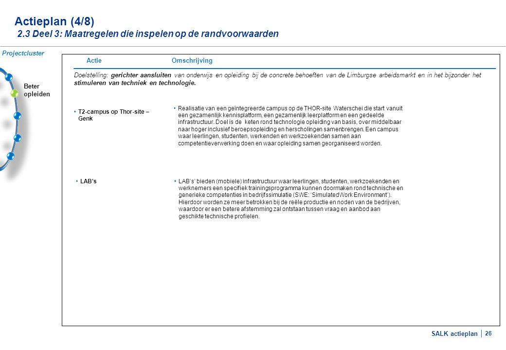 SALK actieplan 26 Beter opleiden Actieplan (4/8) 2.3 Deel 3: Maatregelen die inspelen op de randvoorwaarden Doelstelling: gerichter aansluiten van ond