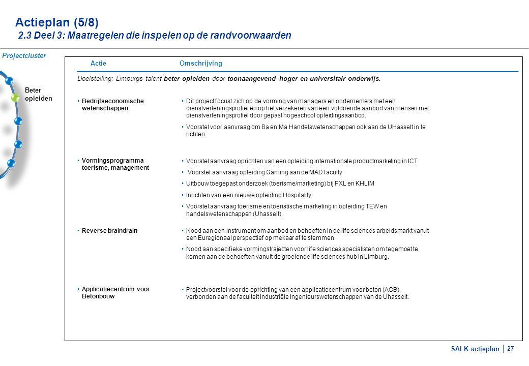 SALK actieplan 27 Beter opleiden Actieplan (5/8) 2.3 Deel 3: Maatregelen die inspelen op de randvoorwaarden Doelstelling: Limburgs talent beter opleid