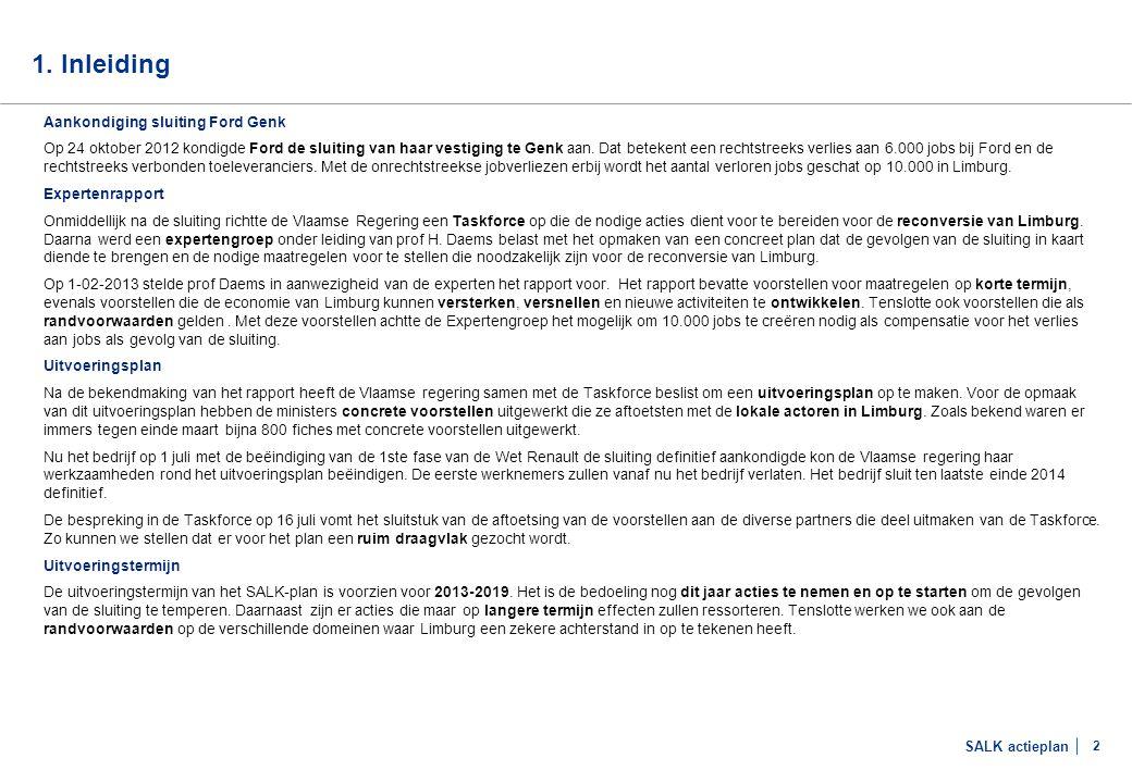 SALK actieplan 2 1. Inleiding Aankondiging sluiting Ford Genk Op 24 oktober 2012 kondigde Ford de sluiting van haar vestiging te Genk aan. Dat beteken
