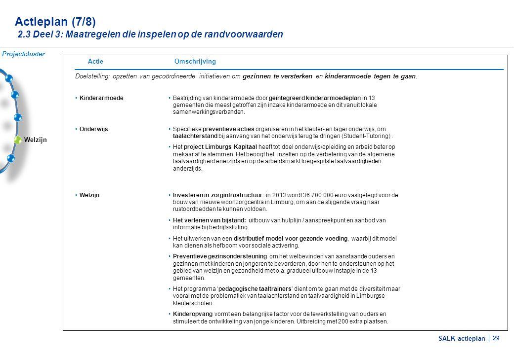 SALK actieplan 29 Welzijn Actieplan (7/8) 2.3 Deel 3: Maatregelen die inspelen op de randvoorwaarden Doelstelling: opzetten van gecoördineerde initiat
