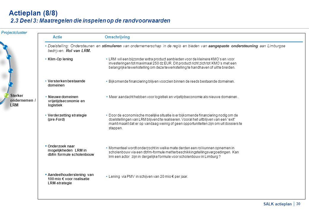 SALK actieplan 30 Sterker ondernemen / LRM Actieplan (8/8) 2.3 Deel 3: Maatregelen die inspelen op de randvoorwaarden •Doelstelling: Ondersteunen en s