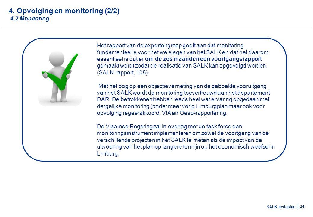 SALK actieplan 34 4. Opvolging en monitoring (2/2) 4.2 Monitoring Het rapport van de expertengroep geeft aan dat monitoring fundamenteel is voor het w