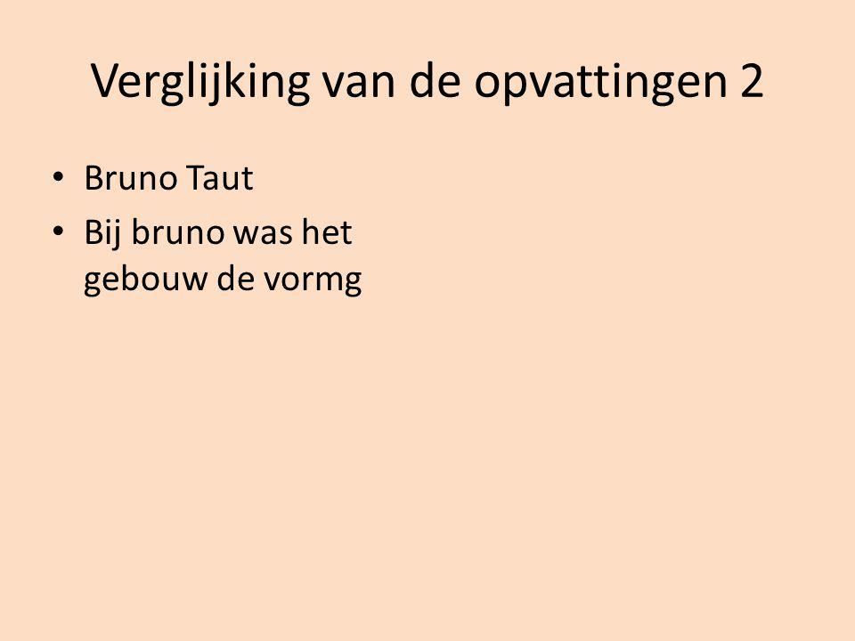 Verglijking van de opvattingen 2 • Bruno Taut • Bij bruno was het gebouw de vormg