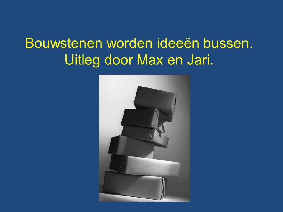 Bouwstenen worden ideeën bussen. Uitleg door Max en Jari.