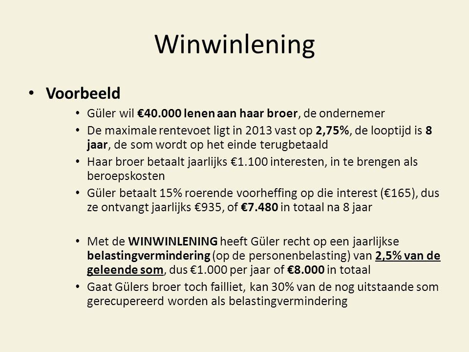 Winwinlening • Voorbeeld • Güler wil €40.000 lenen aan haar broer, de ondernemer • De maximale rentevoet ligt in 2013 vast op 2,75%, de looptijd is 8