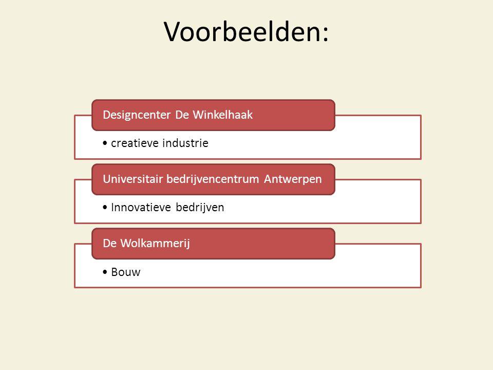 Voorbeelden: •creatieve industrie Designcenter De Winkelhaak •Innovatieve bedrijven Universitair bedrijvencentrum Antwerpen •Bouw De Wolkammerij