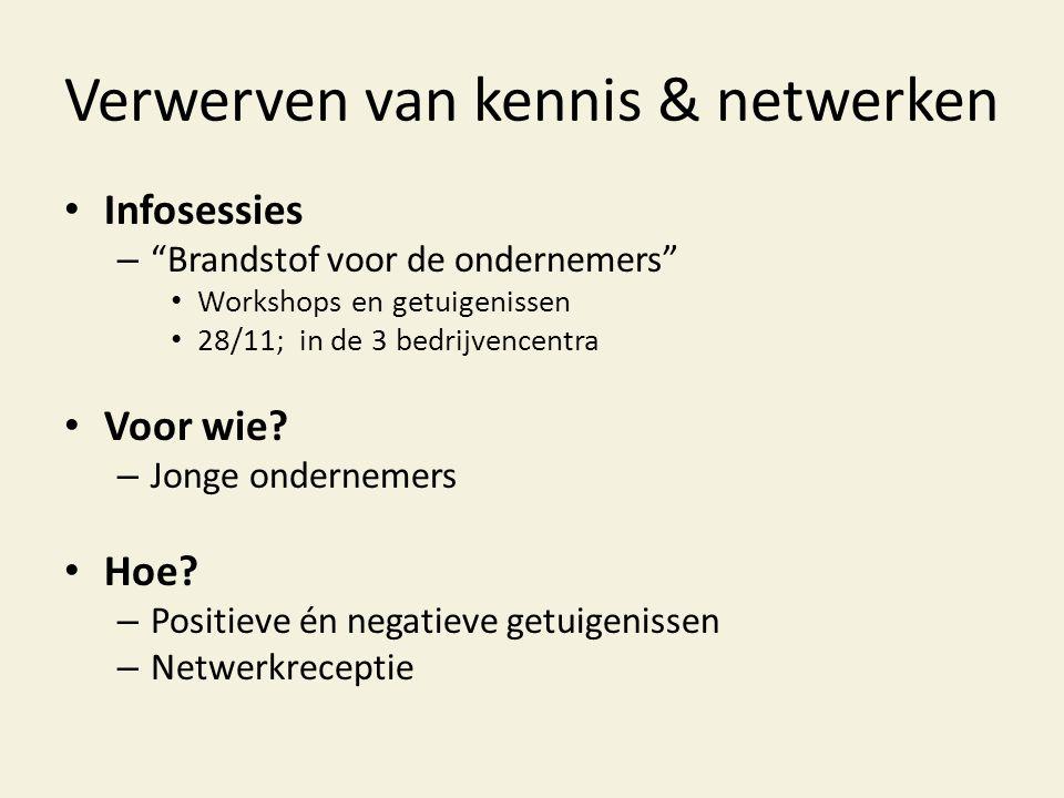 """Verwerven van kennis & netwerken • Infosessies – """"Brandstof voor de ondernemers"""" • Workshops en getuigenissen • 28/11; in de 3 bedrijvencentra • Voor"""