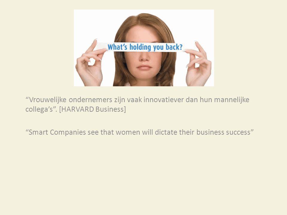 """""""Vrouwelijke ondernemers zijn vaak innovatiever dan hun mannelijke collega's"""". [HARVARD Business] """"Smart Companies see that women will dictate their b"""