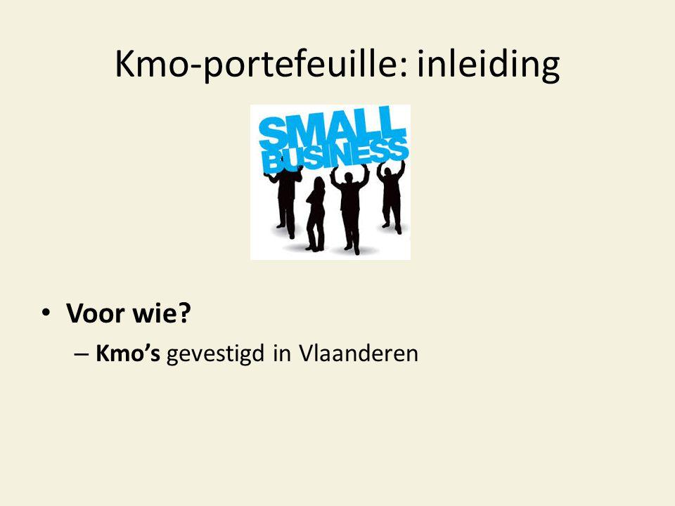 Kmo-portefeuille: inleiding • Voor wie? – Kmo's gevestigd in Vlaanderen
