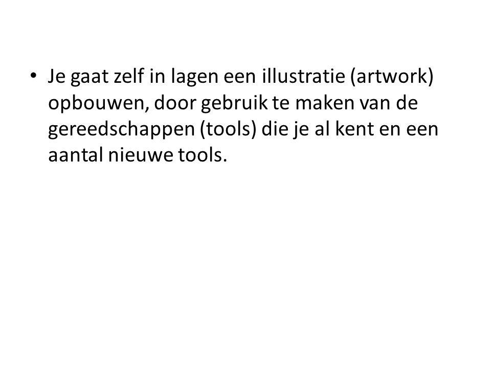 • Je gaat zelf in lagen een illustratie (artwork) opbouwen, door gebruik te maken van de gereedschappen (tools) die je al kent en een aantal nieuwe to