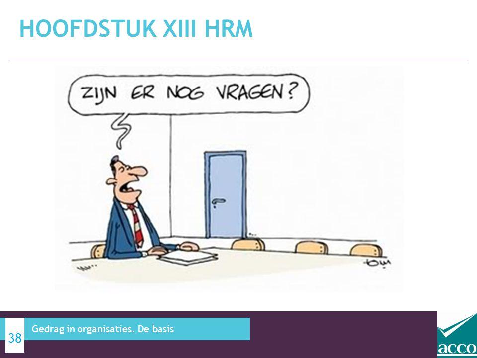 HOOFDSTUK XIII HRM 38 Gedrag in organisaties. De basis