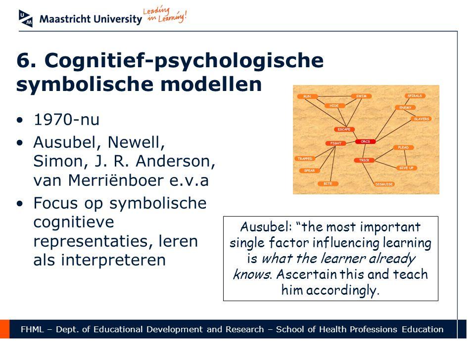 FHML – Dept. of Educational Development and Research – School of Health Professions Education 6. Cognitief-psychologische symbolische modellen •1970-n