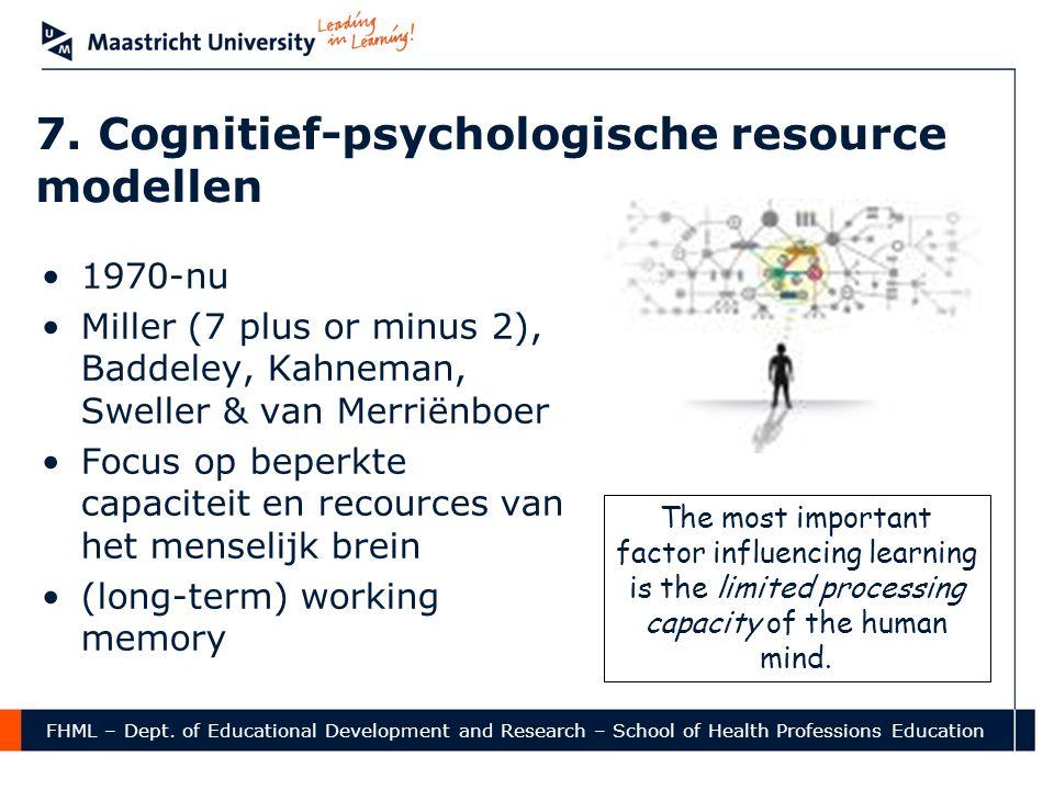 FHML – Dept. of Educational Development and Research – School of Health Professions Education 7. Cognitief-psychologische resource modellen •1970-nu •