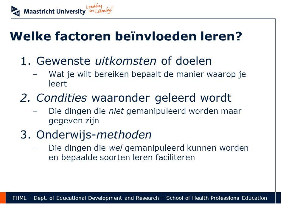 FHML – Dept. of Educational Development and Research – School of Health Professions Education Welke factoren beïnvloeden leren? 1.Gewenste uitkomsten