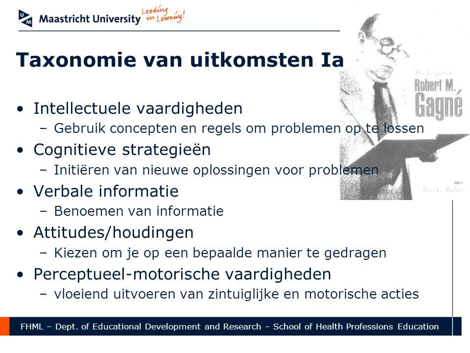 FHML – Dept. of Educational Development and Research – School of Health Professions Education Taxonomie van uitkomsten Ia •Intellectuele vaardigheden