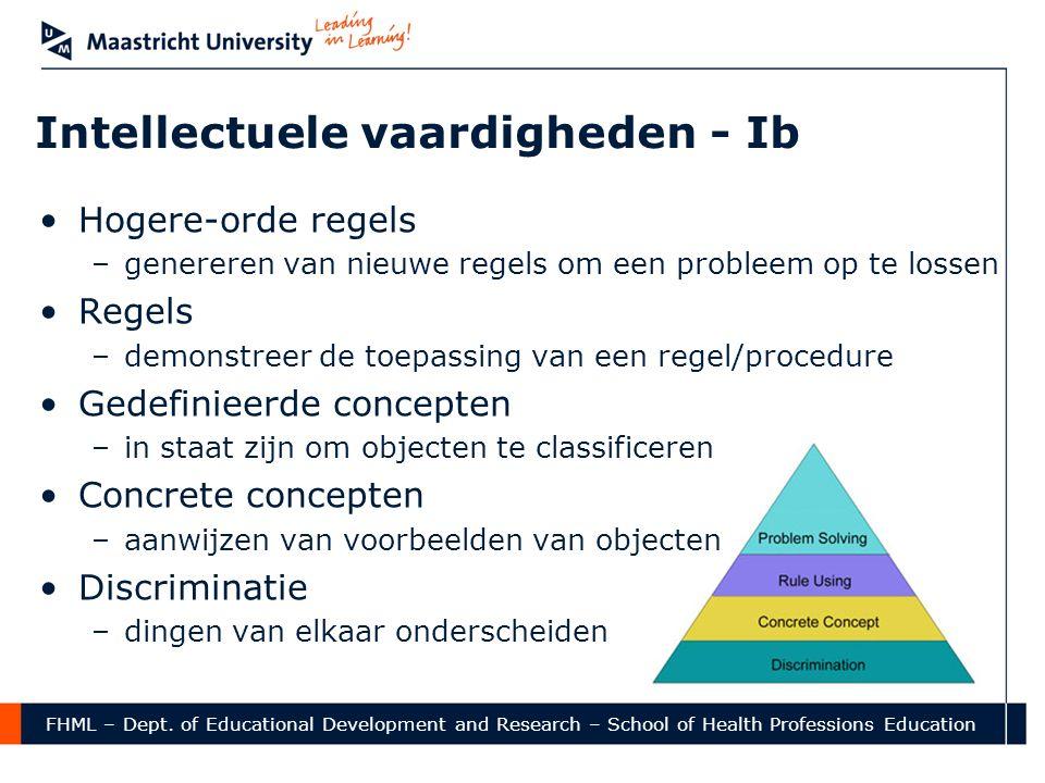 FHML – Dept. of Educational Development and Research – School of Health Professions Education Intellectuele vaardigheden - Ib •Hogere-orde regels –gen