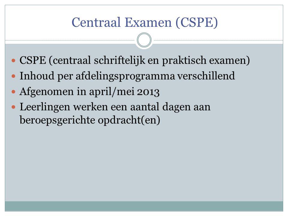 Centraal Examen (CSPE)  CSPE (centraal schriftelijk en praktisch examen)  Inhoud per afdelingsprogramma verschillend  Afgenomen in april/mei 2013 