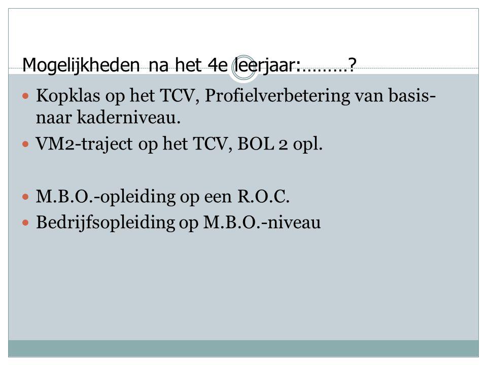 Mogelijkheden na het 4e leerjaar:………?  Kopklas op het TCV, Profielverbetering van basis- naar kaderniveau.  VM2-traject op het TCV, BOL 2 opl.  M.B
