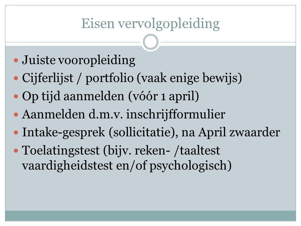Eisen vervolgopleiding  Juiste vooropleiding  Cijferlijst / portfolio (vaak enige bewijs)  Op tijd aanmelden (vóór 1 april)  Aanmelden d.m.v. insc