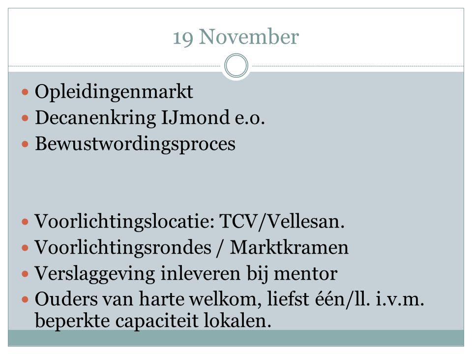 19 November  Opleidingenmarkt  Decanenkring IJmond e.o.  Bewustwordingsproces  Voorlichtingslocatie: TCV/Vellesan.  Voorlichtingsrondes / Marktkr