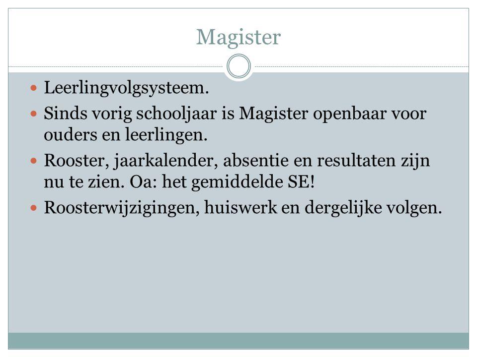  Leerlingvolgsysteem.  Sinds vorig schooljaar is Magister openbaar voor ouders en leerlingen.  Rooster, jaarkalender, absentie en resultaten zijn n
