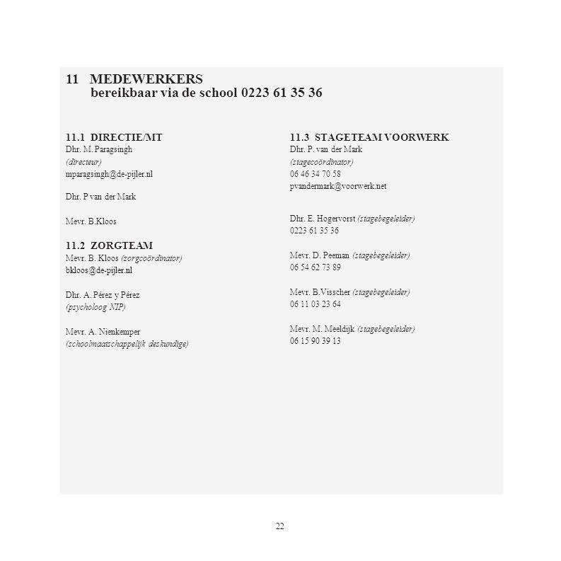 22 11.1 DIRECTIE/MT Dhr. M. Paragsingh (directeur) mparagsingh@de-pijler.nl Dhr. P van der Mark Mevr. B.Kloos 11.2 ZORGTEAM Mevr. B. Kloos (zorgcoördi