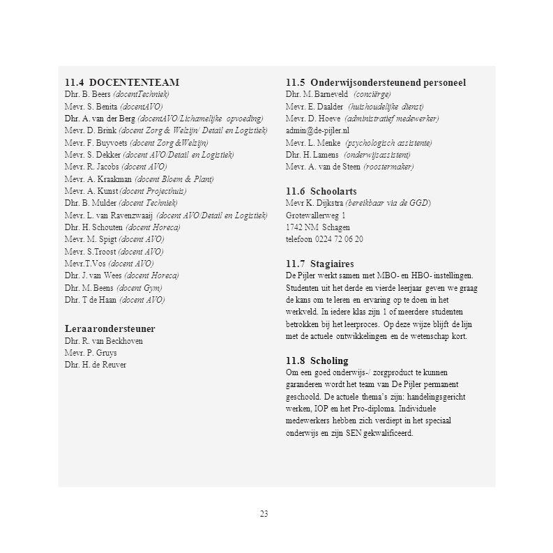 11.4 DOCENTENTEAM Dhr. B. Beers (docentTechniek) Mevr. S. Benita (docentAVO) Dhr. A. van der Berg (docentAVO/Lichamelijke opvoeding) Mevr. D. Brink (d