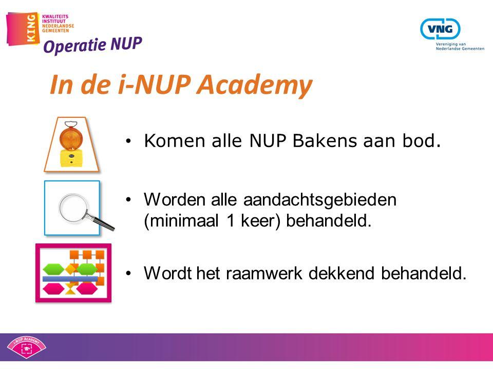 • Komen alle NUP Bakens aan bod. In de i-NUP Academy •Worden alle aandachtsgebieden (minimaal 1 keer) behandeld. •Wordt het raamwerk dekkend behandeld