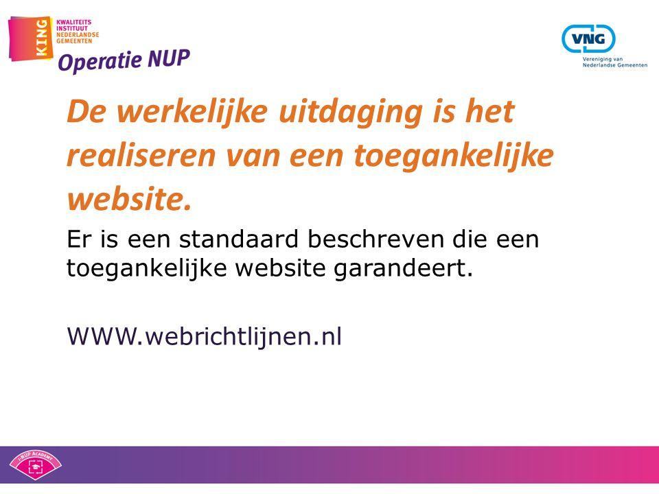 Er is een standaard beschreven die een toegankelijke website garandeert. WWW.webrichtlijnen.nl De werkelijke uitdaging is het realiseren van een toega
