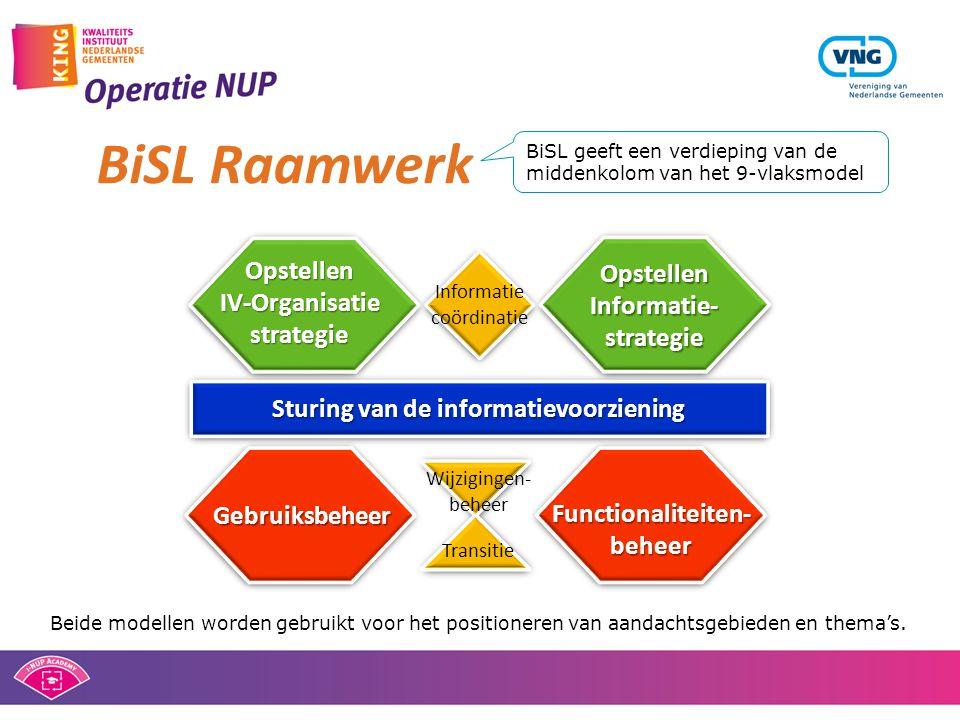 Sturing van de informatievoorziening Gebruiksbeheer Functionaliteiten- beheer Transitie Wijzigingen- beheer Opstellen IV-Organisatie strategie Opstell