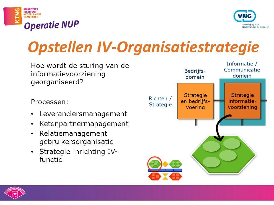 Hoe wordt de sturing van de informatievoorziening georganiseerd? Processen: • Leveranciersmanagement • Ketenpartnermanagement • Relatiemanagement gebr