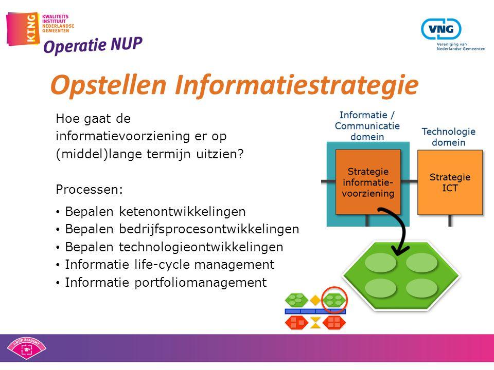 Opstellen Informatiestrategie Hoe gaat de informatievoorziening er op (middel)lange termijn uitzien? Processen: • Bepalen ketenontwikkelingen • Bepale