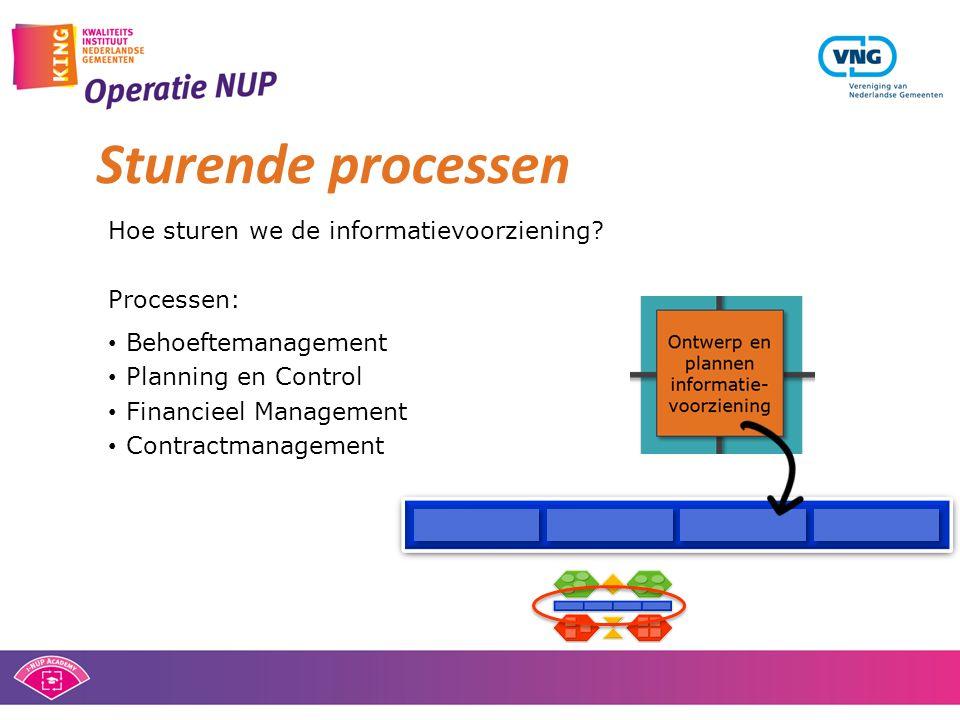 Sturende processen Hoe sturen we de informatievoorziening? Processen: • Behoeftemanagement • Planning en Control • Financieel Management • Contractman