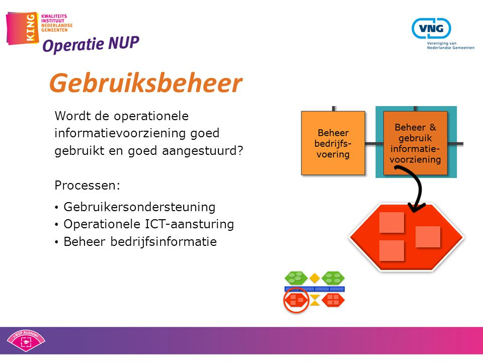 Gebruiksbeheer Wordt de operationele informatievoorziening goed gebruikt en goed aangestuurd? Processen: • Gebruikersondersteuning • Operationele ICT-