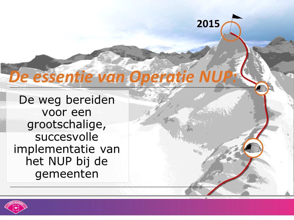 De essentie van Operatie NUP: De weg bereiden voor een grootschalige, succesvolle implementatie van het NUP bij de gemeenten 2015