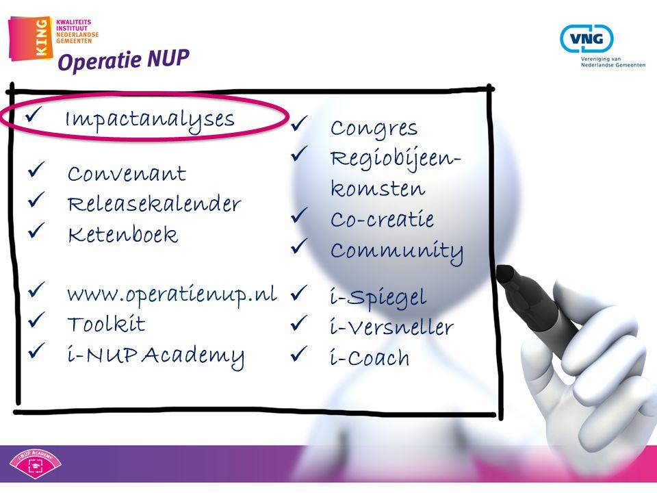  Impactanalyses  Congres  Regiobijeen- komsten  Co-creatie  Community  www.operatienup.nl  Toolkit  i-NUP Academy  Convenant  Releasekalende