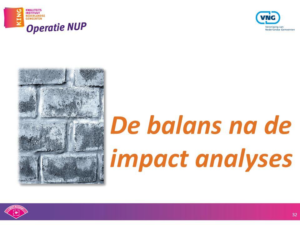 De balans na de impact analyses 32
