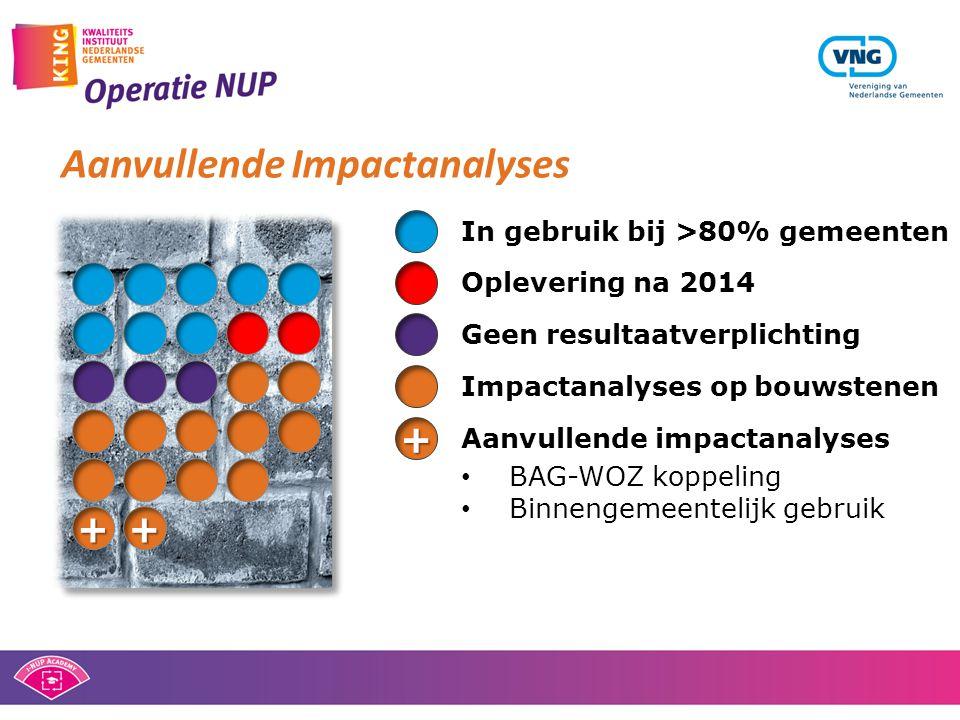 Geen resultaatverplichtingOplevering na 2014 In gebruik bij >80% gemeenten • BAG-WOZ koppeling • Binnengemeentelijk gebruik Aanvullende impactanalyses + ++ Aanvullende Impactanalyses