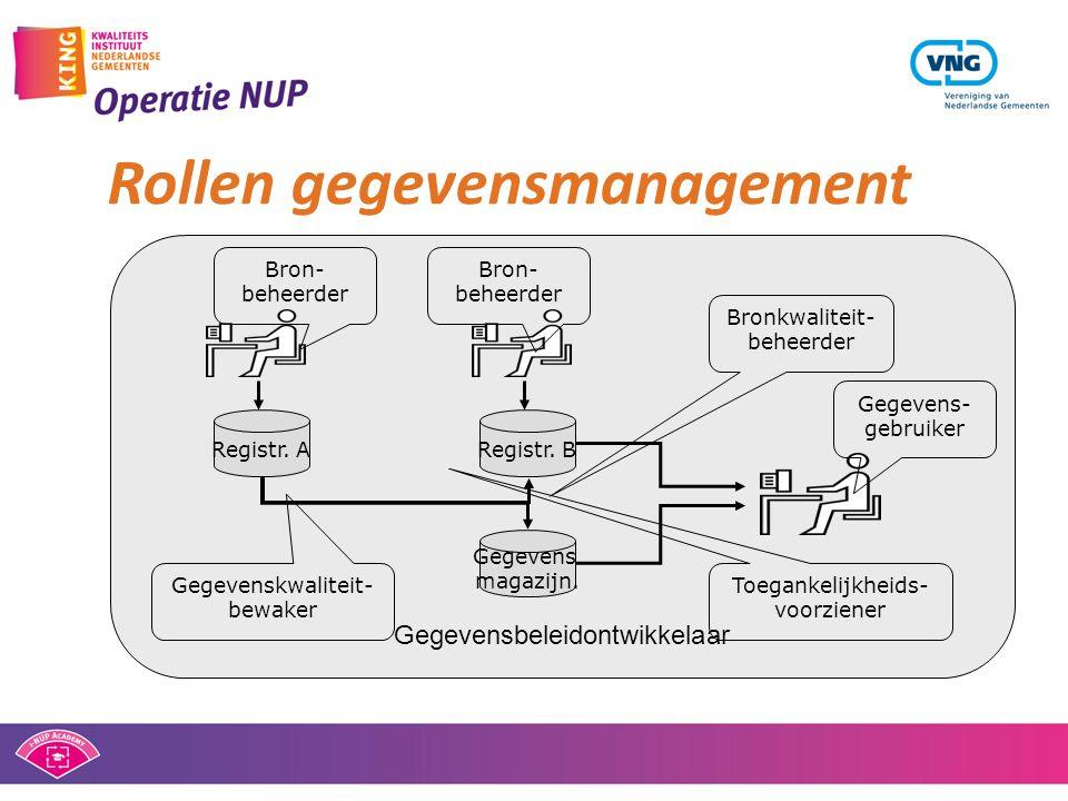 Rollen gegevensmanagement Gegevensbeleidontwikkelaar Registr.